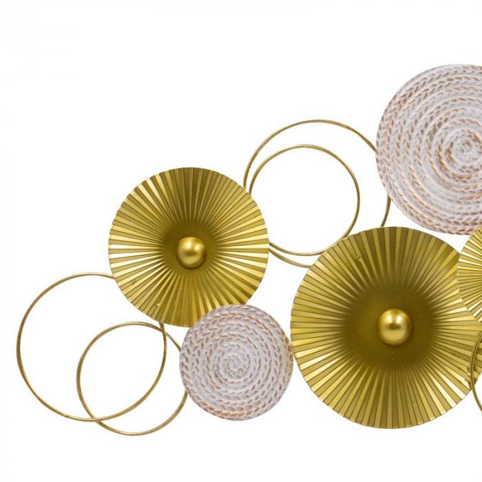 Decoratiune pentru perete, cu cercuri Aurii si Albe din metal 83x37 cm 2