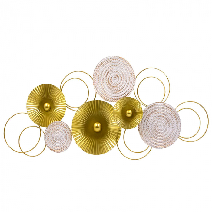 Decoratiune pentru perete, cu cercuri Aurii si Albe din metal 83x37 cm 1