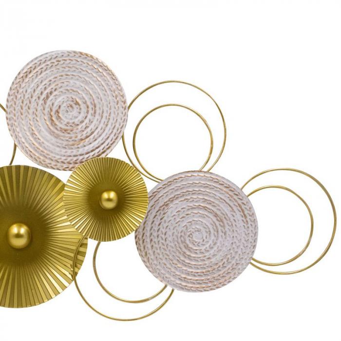 Decoratiune pentru perete, cu cercuri Aurii si Albe din metal 83x37 cm 3