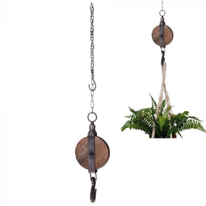 Decoratiune Scripete si Carlig 12 cm,din lemn cu lant metalic 1 m [1]