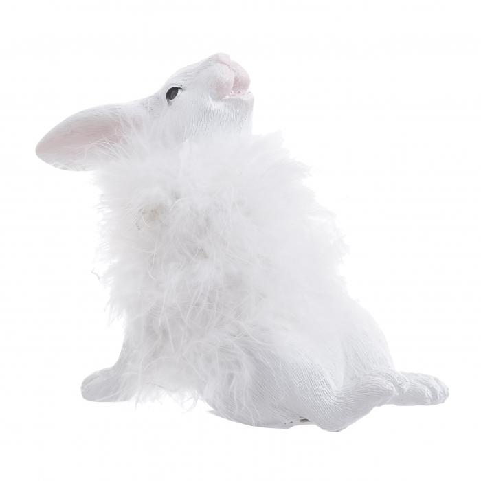 Decoratune iepure, cu blana Alba, 16x7x14 cm 1