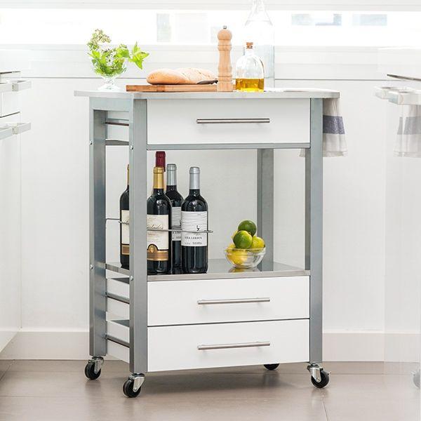 Dulap alb cu sertare MDF, picioare metal si blat inox,suport pentru 7 sticle vin , roti cu sistem blocare, Dim  60x50X84 cm 1