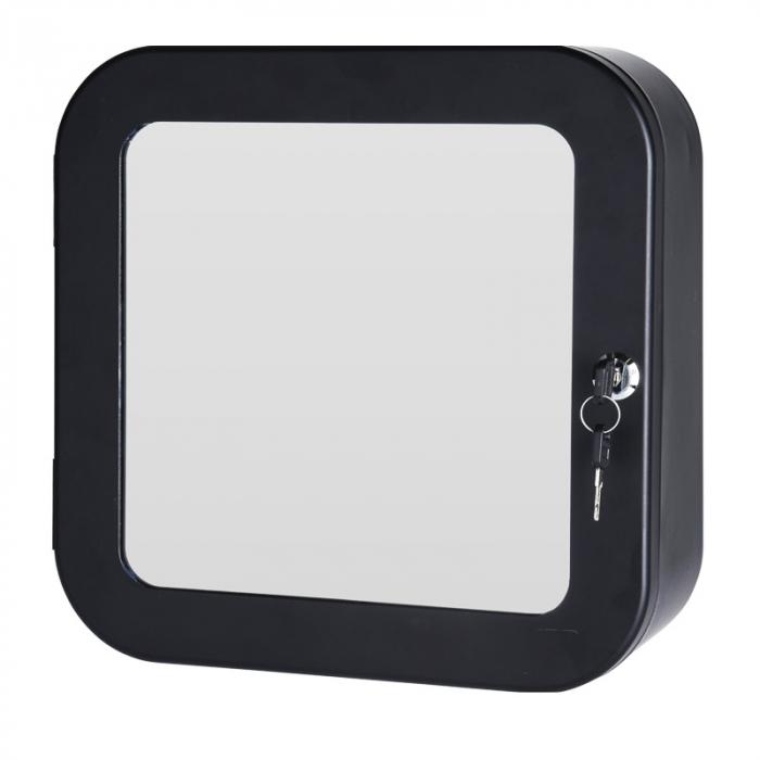 Dulap Metalic Negru cu oglinda aplicata pe usa, cu 2 rafturi si incuietoare cheie, depozitare Kit trusa Prim Ajutor, Protectia Muncii, 32x32x11.5 cm, G2kg 1