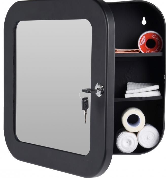 Dulap Metalic Negru cu oglinda aplicata pe usa, cu 2 rafturi si incuietoare cheie, depozitare Kit trusa Prim Ajutor, Protectia Muncii, 32x32x11.5 cm, G2kg 2