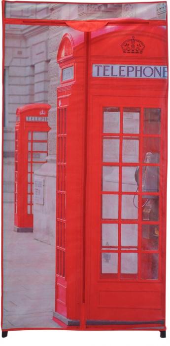 Dulap textil  model cabina telefonica cu structura metalica H 160cmx75x45 cm 1