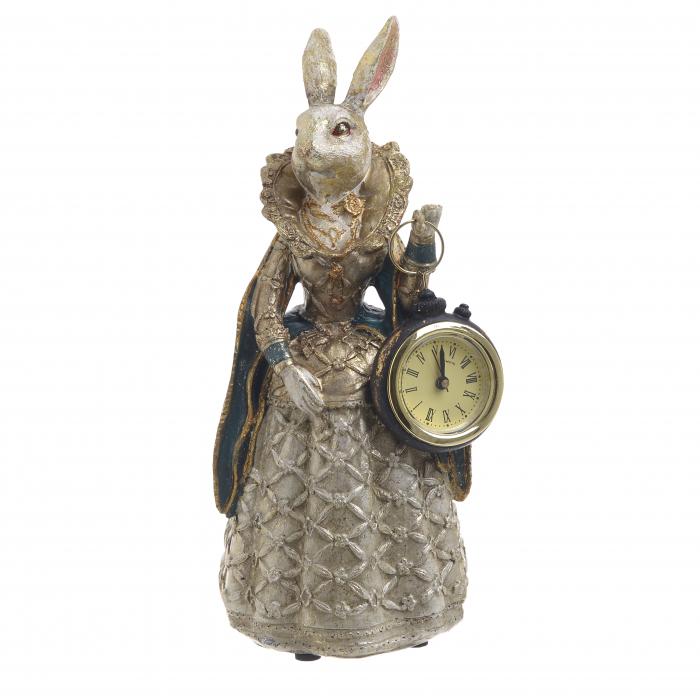 Figurina iepure, din polirezina cu ceas, 11x10x24 cm [0]