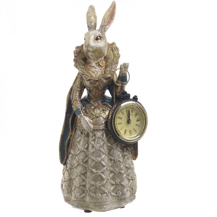 Figurina iepure, din polirezina cu ceas, 11x10x24 cm 5