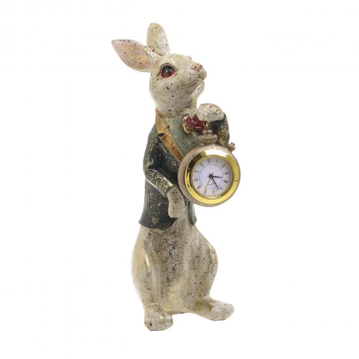 Decoratiune figurina iepure, din polirezina cu ceas, 12x7x22 cm [4]