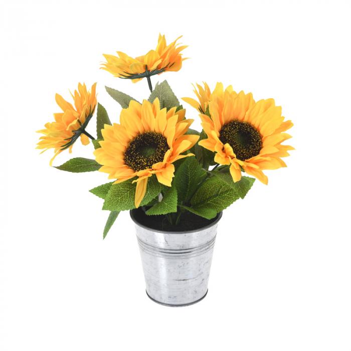 Floarea Soarelui, Galbena in ghiveci metalic, H 27 cm 0