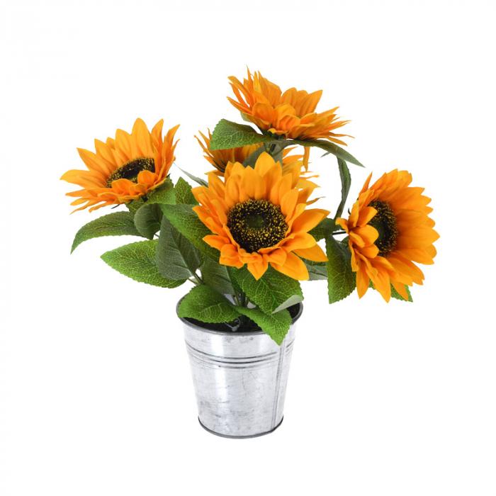 Floarea Soarelui, Portocalie in ghiveci Metalic,  H 27 cm 0