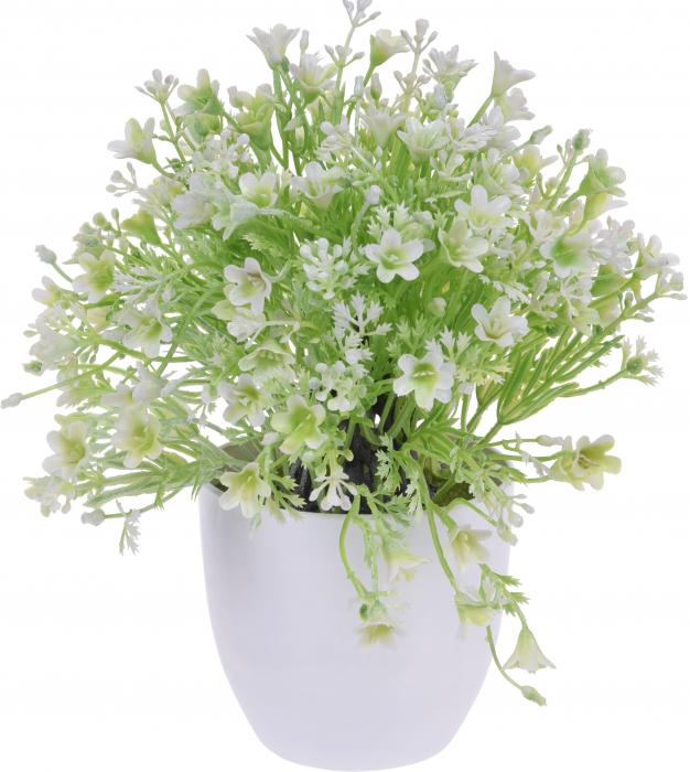 Planta Artificiala cu Flori Albe in ghiveci alb, Rezistente la umiditate, Aspect natural D15cm, H totala 24cm 0