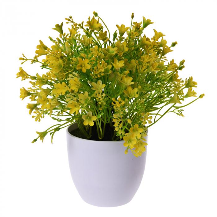 Flori Artificiale Galbene in ghiveci, Aspect natural D15cm, H totala 24cm, Rezistente la umiditate, Aspect natural D15cm, H totala 24cm 1
