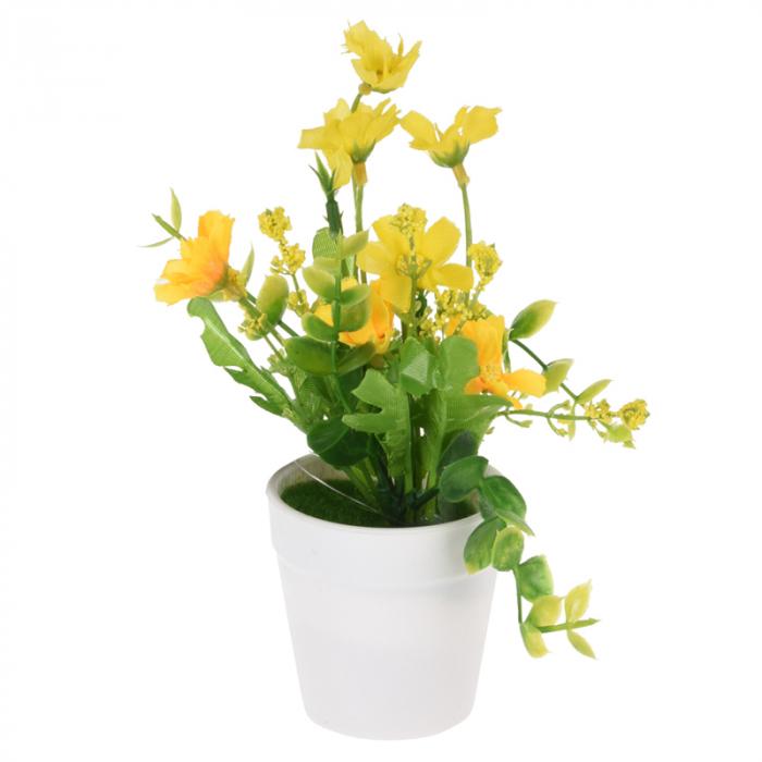 Flori artificiale in ghiveci alb 13,5 x7 cm culoare galbena 0