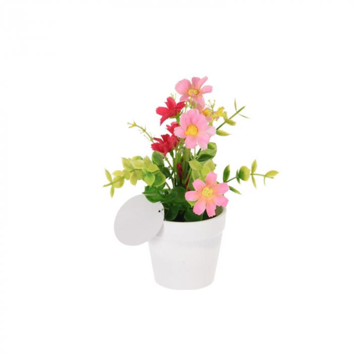 Flori artificiale in ghiveci alb 13,5 x7 cm culoare roz 0