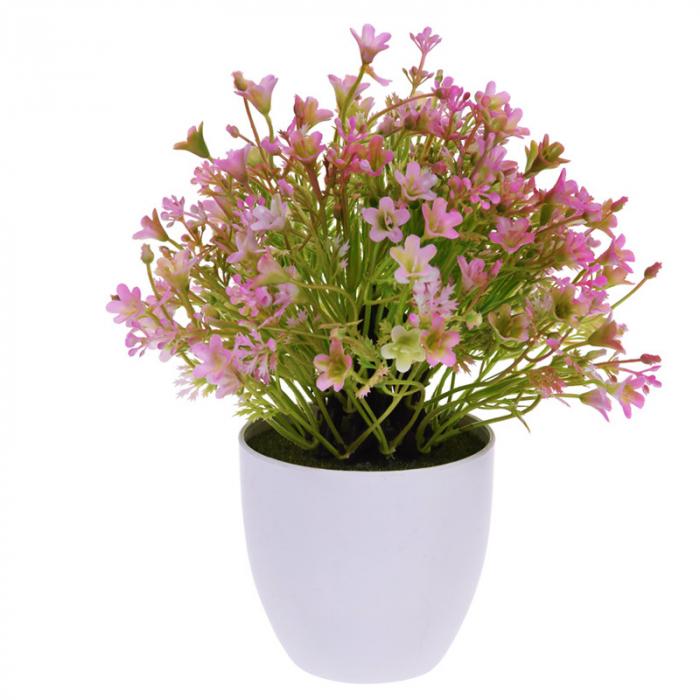 Flori Artificiale Roz in ghiveci alb, Rezistente la umiditate, Aspect natural D15cm, H totala 24cm 1