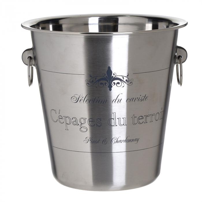 Frapiera din metal lucios, cu inele, cu imprimeu Cepages du Terroir, Argintiu, 22x21 cm 0