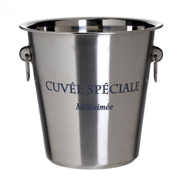 Frapiera din metal lucios, cu inele, model Cuvee Speciale, Argintiu, 22x21 cm 0