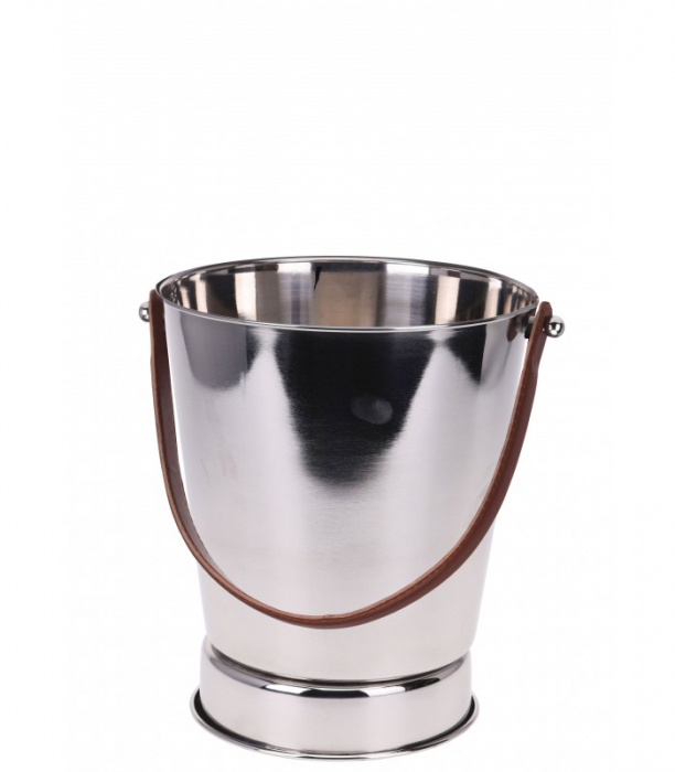 Frapiera pentru Sampanie cu maner din Piele Maro, 24x27 cm, Inox, 1,11 Kg 1