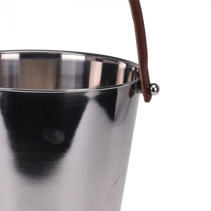 Frapiera pentru Sampanie cu maner din Piele Maro, 24x27 cm, Inox, 1,11 Kg 5