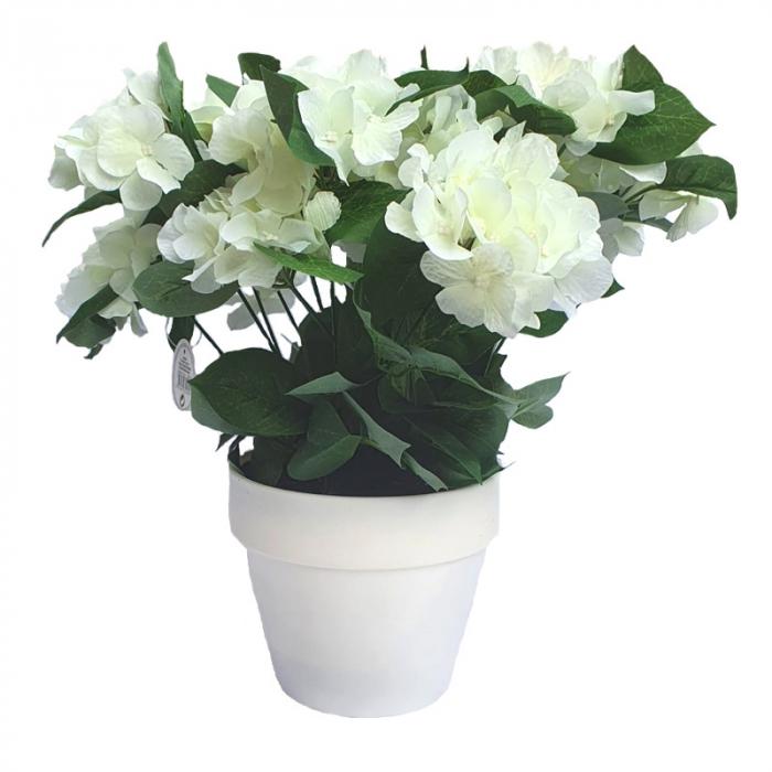 Hortensie Artificiala decorativa, Alba cu frunze Verzi in ghiveci Alb, pentru interior sau exterior, rezistente la Umiditate, D floare 37 cm 0