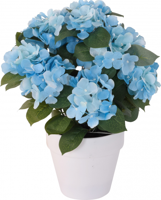 Hortensie Artificiala decorativa, culoare Albastra cu frunze Verzi in ghiveci Alb, de interior sau exterior, rezistente la Umiditate, D floare 37 cm, D ghiveci15 cm 0