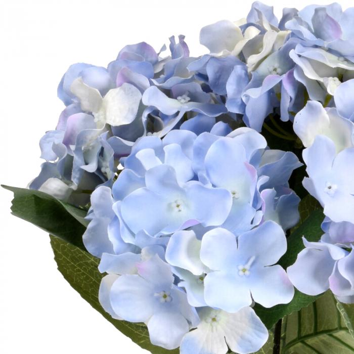Hortensie Artificiala Bleu, in ghiveci Negru, 26x10 cm 3