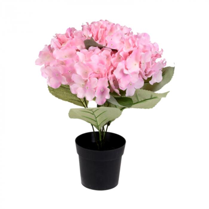Hortensie artificiala Roz, in ghiveci negru, 26x10 cm 0