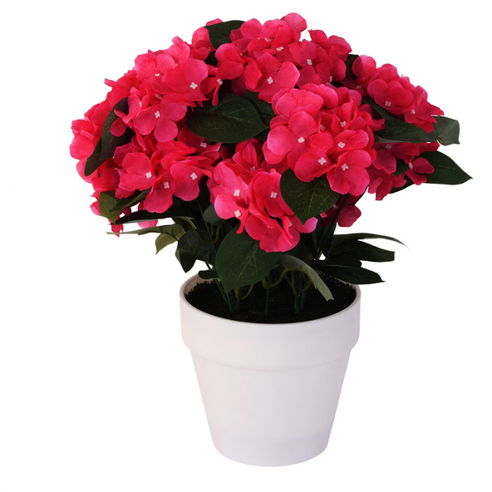 Hortensie Artificiala decorativa, Roz cu frunze Verzi in ghiveci Alb, pentru interior sau exterior, Aspect natural si rezistente la Umiditate, D floare 37 cm, D ghiveci15 cm 0