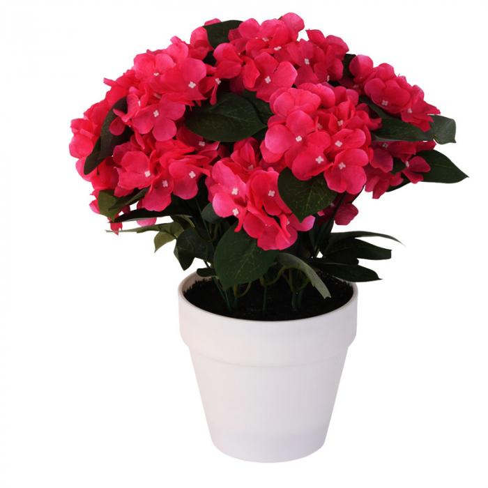Hortensie Artificiala decorativa, Roz cu frunze Verzi in ghiveci Alb, pentru interior sau exterior, Aspect natural si rezistente la Umiditate, D floare 37 cm, D ghiveci15 cm 1