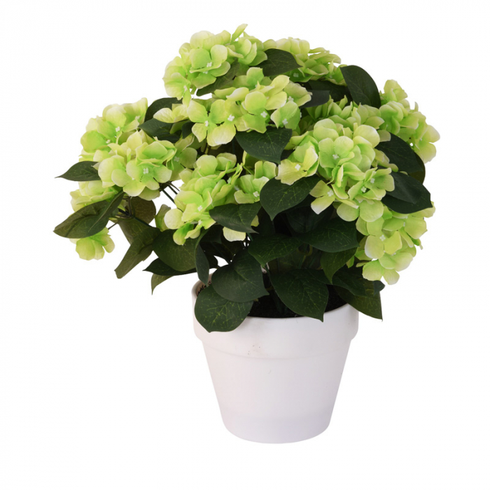 Hortensie Artificiala, Verde Deschis, decorativa, cu frunze Verde inchis in ghiveci Alb, de interior sau exterior, D floare 37 cm, D ghiveci15 cm [0]