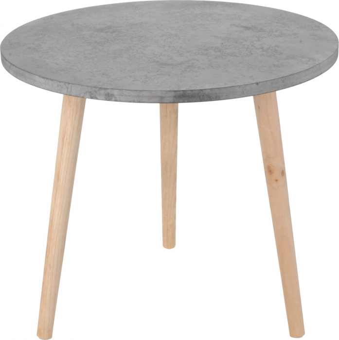 Masa cafea blat MDF culoare gri cu picioare lemn brad 49x42x2 cm [1]