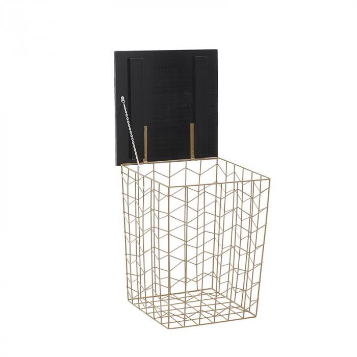 Masa cafea din metal, cu blat din lemn, Auriu/Negru,41x41x52 cm 2