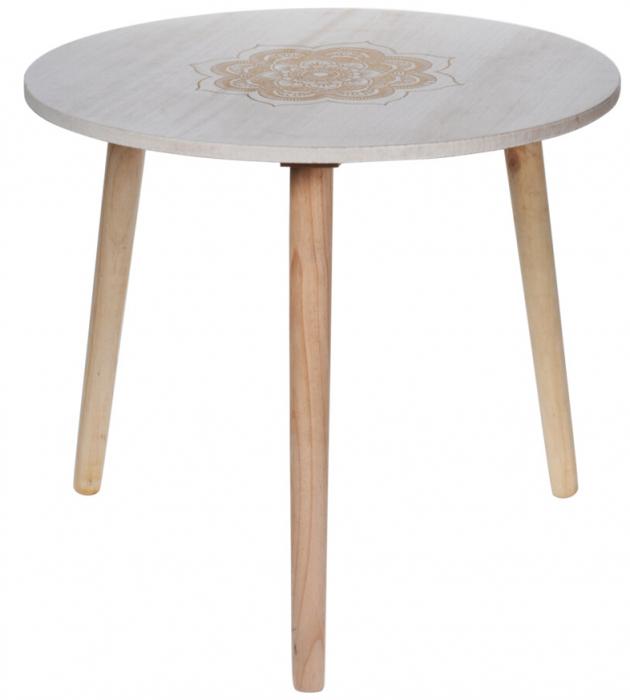 Masa din MDF, Alba, diametru 49 cm, picioare din lemn brad, inaltime 42 cm 5
