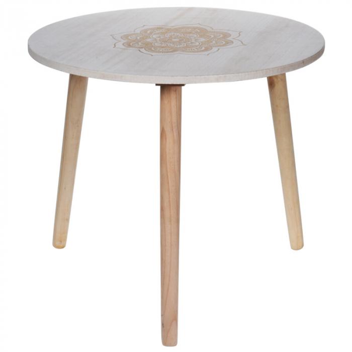 Masa din MDF, Alba, diametru 49 cm, picioare din lemn brad, inaltime 42 cm 4