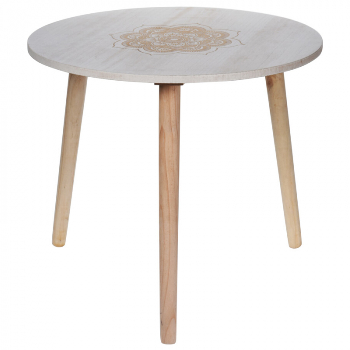 Masa din MDF, Alba, diametru 49 cm, picioare din lemn brad, inaltime 42 cm 1