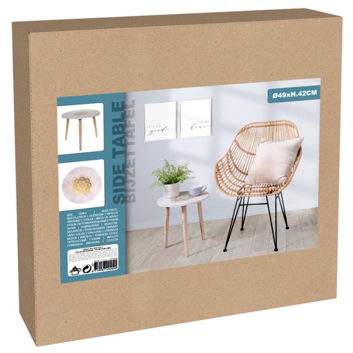 Masa din MDF, Alba, diametru 49 cm, picioare din lemn brad, inaltime 42 cm 2