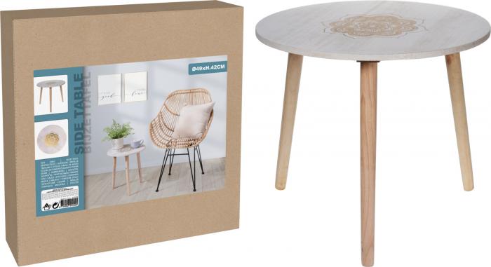 Masa din MDF, Alba, diametru 49 cm, picioare din lemn brad, inaltime 42 cm 3