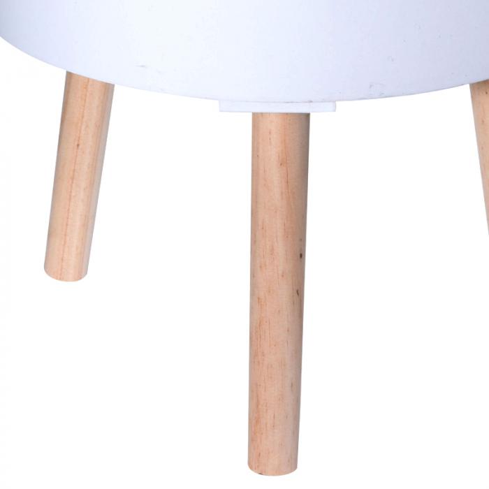 Masa MDF alba cu picioare din lemn brad, diametru 35 cm, inaltime 47 cm 2