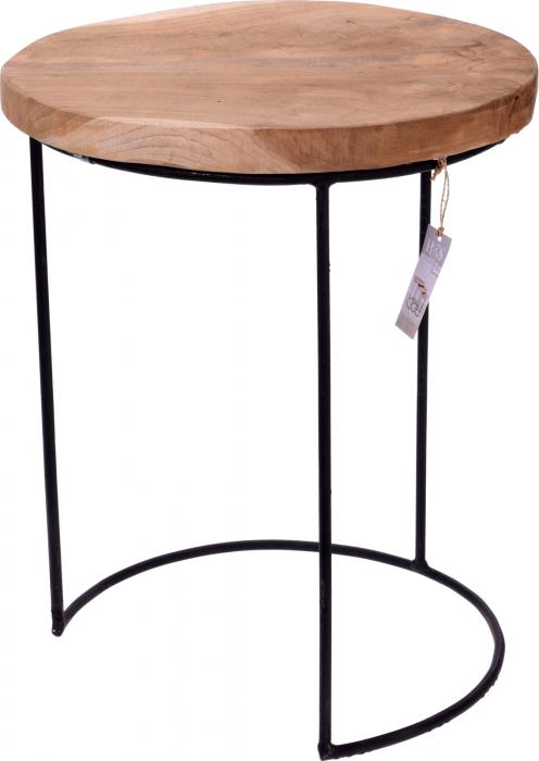 Masa cu blat din lemn de Teak, cu picioare din metal, diametru 38 cm, inaltime 45 cm 0