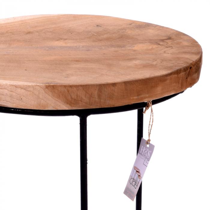 Masa cu blat din lemn de Teak, cu picioare din metal, diametru 38 cm, inaltime 45 cm 4