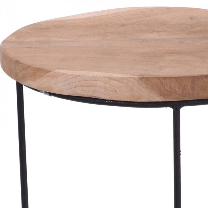 Masa cu blat din lemn de Teak, cu picioare din metal, diametru 38 cm, inaltime 45 cm 2