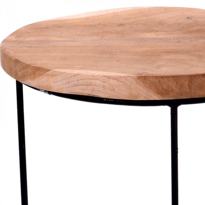 Masa cu blat din lemn de Teak, cu picioare din metal, diametru 38 cm, inaltime 45 cm 3