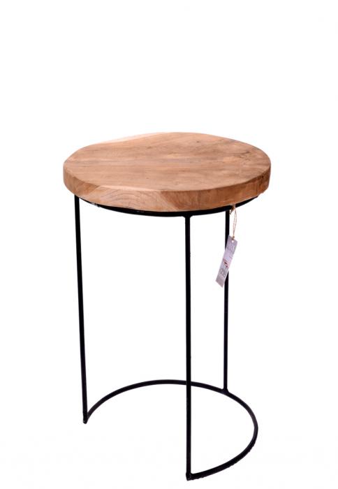 Masa cu blat din lemn de Teak, cu picioare din metal, diametru 38 cm, inaltime 45 cm 1