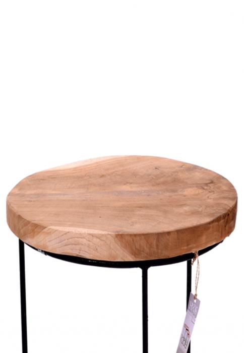 Masa cu blat din lemn de Teak, cu picioare din metal, diametru 38 cm, inaltime 45 cm 7