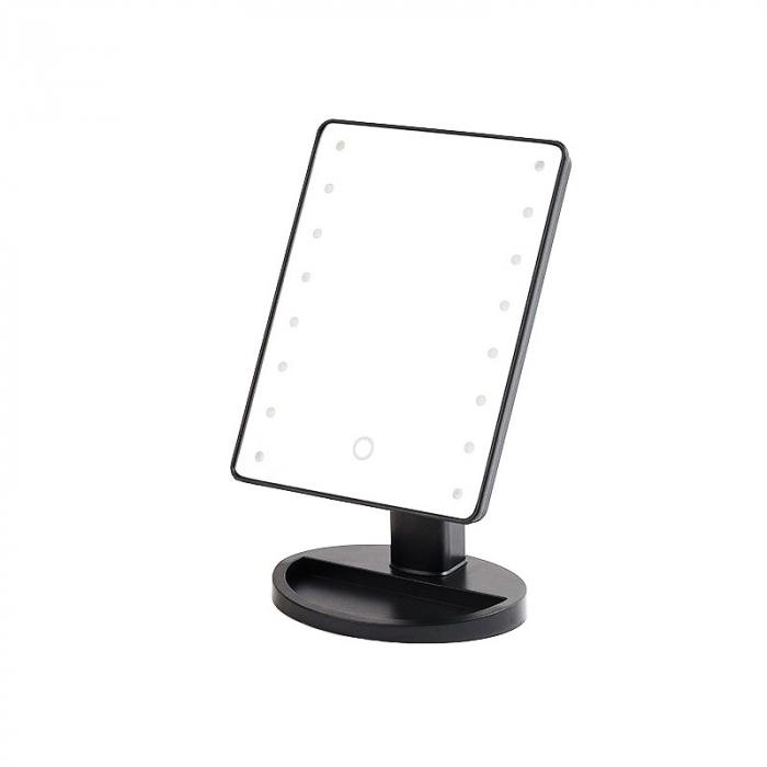 Oglinda 16 LED-uri, pentru Machiaj, cu Buton Tactil, NAGO, 16 lumini, Rotatie de 180º, cu Picior, baza cu depozitare de Bijuterii, Efect de Marire, Dreptunghiulara, 17x12cm, H 27cm, Gri 0