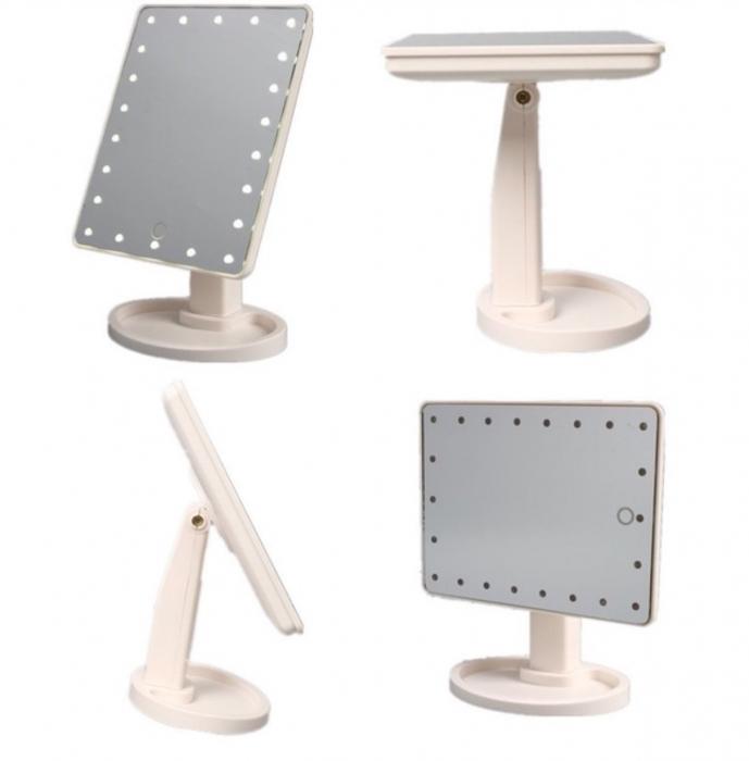 Oglinda 16 LED-uri, pentru Machiaj, cu Buton Tactil, NAGO, 16 lumini, Rotatie de 180º, cu Picior, baza cu depozitare de Bijuterii, Efect de Marire, Dreptunghiulara, 17x12cm H 27cm, Alba 3