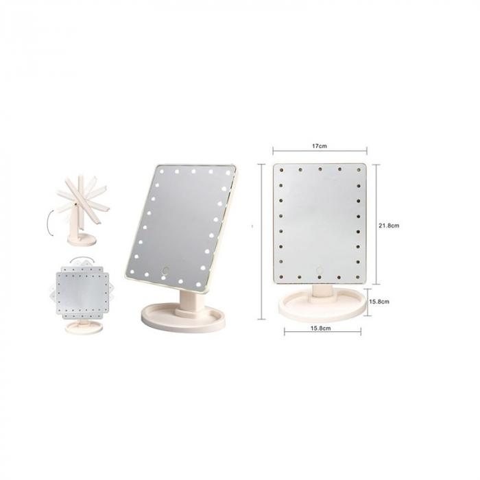 Oglinda 16 LED-uri, pentru Machiaj, cu Buton Tactil, NAGO, 16 lumini, Rotatie de 180º, cu Picior, baza cu depozitare de Bijuterii, Efect de Marire, Dreptunghiulara, 17x12cm H 27cm, Alba 4