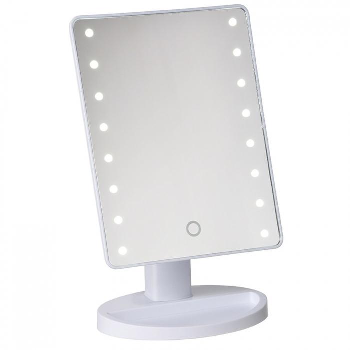 Oglinda 16 LED-uri, pentru Machiaj, cu Buton Tactil, NAGO, 16 lumini, Rotatie de 180º, cu Picior, baza cu depozitare de Bijuterii, Efect de Marire, Dreptunghiulara, 17x12cm H 27cm, Alba 0
