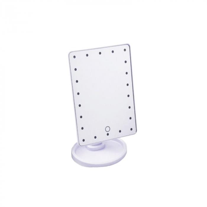Oglinda 16 LED-uri, pentru Machiaj, cu Buton Tactil, NAGO, 16 lumini, Rotatie de 180º, cu Picior, baza cu depozitare de Bijuterii, Efect de Marire, Dreptunghiulara, 17x12cm H 27cm, Alba 2