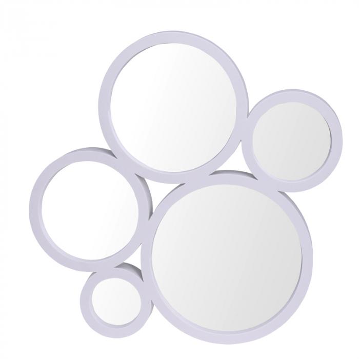 Oglinda din 5 piese lipite, rama plastic Alba, dimensiune 47x44x4 cm [0]